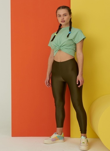 Fashion Tayt Parlak Toparlayıcı Disco Tayt Haki
